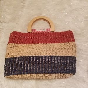 Tommy Hilfiger Woven Rattan tote purse